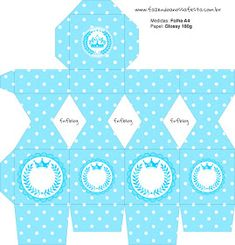 Light Blue Crown in Stripes and Polka Dots  Free Printable Boxes for a Quinceanera Party. Quinceanera Decorations, Quinceanera Party, Printable Box, Free Printables, Nail Polish Box, Dots Free, Box Invitations, Pillow Box, For Your Party