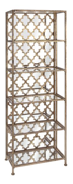 """If """"classic and intricate"""" is right up your alley, you won't want to miss the Giselle Mirrored Shelf. A stunning Moroccan tile pattern brings dimension and eye-catching flair to the back, with mirrored...  Find the Giselle Mirrored Shelf, as seen in the #TheGenieDen Collection at http://dotandbo.com/collections/thegenieden?utm_source=pinterest&utm_medium=organic&db_sku=115104"""
