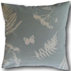 Designer Cushion Covers Moorland Duck Egg Blue or Taupe Beige Ferns Butterflies Duck Egg Blue Pillows, Blue Throw Pillows, Cushion Covers Uk, Cushion Cover Designs, Modern Country, Country Living, Country Style, Brown Cushions