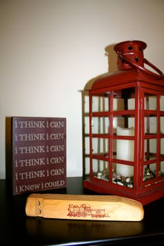"""Accessories for a Little Boy Train Theme Bedroom...a wooden train whistle & """"i think i can, i think i can"""""""