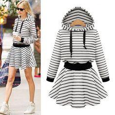 Black Striped Drawstring Hooded Streetwear Cotton Mini Dress