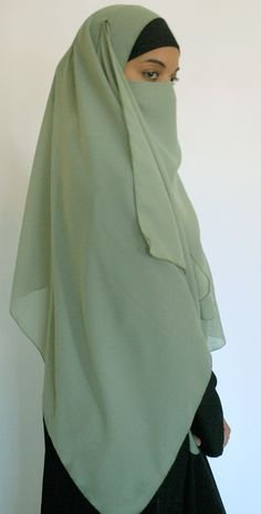 """Georgette 60"""" Square Khimar and 1/2 Face Niqab - $15.00"""