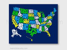 United States Typography Map Art, Rainbow Art with Labeled US States, or Choose Your Own Colors, Playroom Nursery Digital Art Print Boy's Room Art in Green, Navy and Yellow