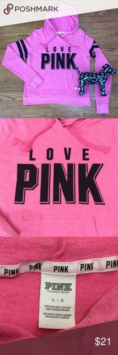 """VS PINK Hoodie Pretty bubblegum pink oversized hoodie with kangaroo pocket, tie hood and cute graphic. P-P 21"""" S-H 25 1/2"""" Sleeve 29"""" PINK Victoria's Secret Tops Sweatshirts & Hoodies"""