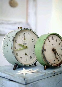 Pastel vintage clocks