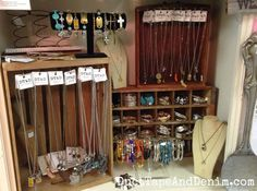 Handmade jewelry displays on my shelf at Room With a Past -- vintage crates, drawer, Coca Cola crate along with more traditional jewelry display pieces. | DuctTapeAndDenim.com