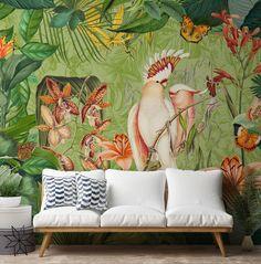 Interior Design Trends Our Predictions Marble Effect Wallpaper, Geometric Wallpaper, Pattern Wallpaper, Quirky Wallpaper, Tropical Wallpaper, Wallpaper Murals, Animal Wallpaper, Tropical Tile, Tropical Design
