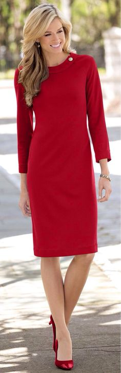 Simply an example of picking out a dress that is of classic design in the last year's in your closet because it is a classic look. Easy lines on any body type..Great attire for business professionals. Fashion for dressing 9 to 5