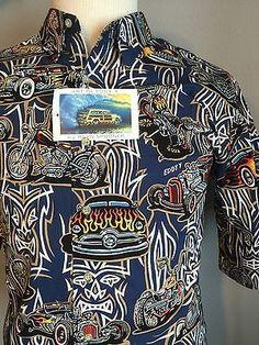 5eecdeac REYN SPOONER Art of Eddy Y Mens Black Hot Rod Motorcycle Shirt Size XL TIKI  NEW · HawaiianCasual ...