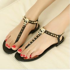sandals and flip flops 2014 | 2014 summer flip-flop sandals flat skull rivet punk gladiator sandals ...