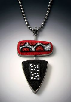 Grace Stokes Designs - Red Circles Pendant - Oxidized Sterling Silver and hand colored Polymer Clay - www.gracestokesdesigns.com