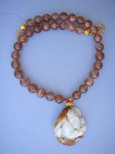 Lucky God Ebisu Sunstone Necklace #lotus #jade #jewelry