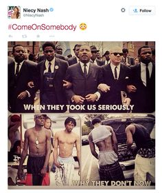 Photo: And you saying black lives matter. Marching and protesting like Martin Luther King Jr. Dress and be like him. Teach your brothers and sisters to wear clothing appropriately.