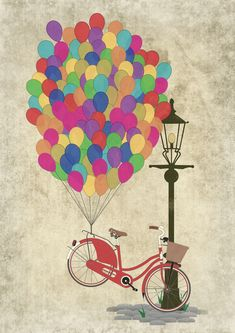 'Love to Ride my Bike with Balloons even if it's not practical.' Poster by Andy Scullion Art And Illustration, Bicycle Art, Bicycle Basket, Mail Art, Retro, Pop Art, Street Art, Poster, Art Prints