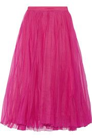 GucciPleated silk-blend organza midi skirt