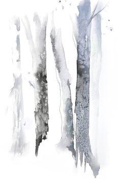 Aspen Tree Watercolor Art Print, FarmHouse Style Decor, Birch in the Woods Painting, Forest Artwork Inches - Impression dArt aquarelle peinture de bouleau par NancyKnightArt - Watercolor Trees, Watercolor Landscape, Abstract Watercolor, Watercolor Paintings, Landscape Sketch, Landscape Prints, Landscape Art, Monochromatic Art, Birch Tree Art