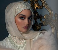 Haute Hijab Luxury Collection in The Ethereal Ivory, USD 300 Muslimah Wedding Dress, Hijab Wedding Dresses, Disney Wedding Dresses, Bridal Hijab, Hijab Bride, Abaya Fashion, Muslim Fashion, Wedding Hijab Styles, Hijab Dress Party