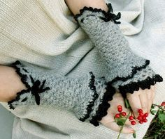 Victorian crochet fingerless gloves @Niki Kinney Kinney Kinney Kinney Kinney Kinney Orth can you please make something like this for me??? only in like sparkly black with some bright color for where black is on these maybe?