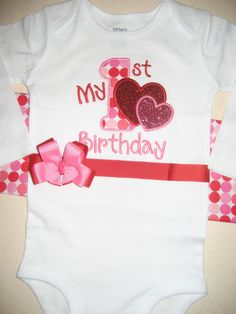 Boutique Valentine First Birthday with ribbon by PolkaDotCloset