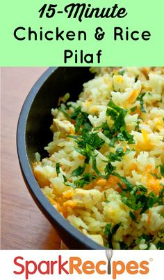 Basmati Chicken Rice Pilaf -- you can easily make one of your favorite rice dishes from the Indian restaurant. And all it takes is 15 minutes! Chicken Rice Pilaf Recipe, Curry Chicken And Rice, Chicken Recipes, Healthy Cooking, Healthy Eating, Cooking Recipes, Healthy Recipes, Rice Dishes, Healthy Chicken