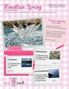 Pink Zebra New & Returning Scents for Fall/Winter 2014/2015! Mountain Spring Sprinkle Recipe Sheet www.pinkzebrahome.com/kellieneathery