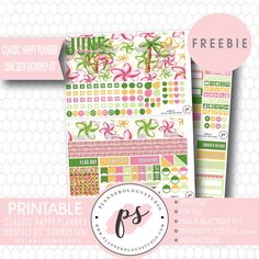 Free Summer Fun Classic Happy Planner June 2018 Monthly Planner Stickers {checkout required} – Plannerologystudio