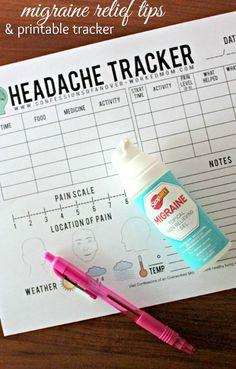 Helpful Migraine Tips & Printable Headache Tracker - Kopfschmerzen Migraine Relief Tips, Pain Relief, Sinus Migraine, Sinus Headache Relief, Migraine Triggers, Headache Tracker, Medicine Notes, Pain Scale, Migraine