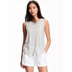 Old Navy Womens Embroidered Slub Knit Sleeveless Top ($20) ❤ liked on Polyvore featuring tops, grey, knit tank, embroidered top, gray tank, sleeveless tops and scoop neck tank