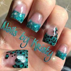 Teal glitter Mylar color acrylic tips hand painted nail art leopard nails by Kristy pureplatinumsalonandspa pureplatinumsalon.net