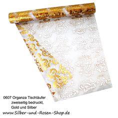 Organza Tischläufer gold silber bedruckt