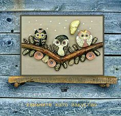 StefArt Stone S.A.S PEBBLE ART OWLS Check out this item in my Etsy shop https://www.etsy.com/listing/567690315/owl-stone-art-pebble-wall-art-bird-stone