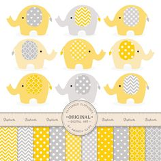 Premium Elephant Clipart & Digital Papers  Yellow by AmandaIlkov