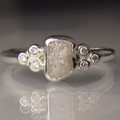 white Raw Diamond Ring - Recycled Sterling Silver - Rough Diamond Ring - Uncut Conflict Free Diamond - sz 6 by artifactum on Etsy https://www.etsy.com/listing/226915498/white-raw-diamond-ring-recycled-sterling