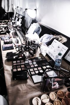 Beauty set up by Bobbi Brown backstage at the Misha Nonoo FW14 runway show in NYC #nyfw #beauty #bobbibrown #mishanonoo #FW14 #runwayshow #fashion