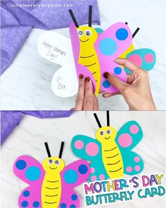 Butterfly Mother's Day Card Craft - If you're in search for a fun and easy Mother's Day craft for kids to make this year, this idea - Easy Mother's Day Crafts, Mothers Day Crafts For Kids, Diy Gifts For Kids, Diy Mothers Day Gifts, Paper Crafts For Kids, Crafts For Kids To Make, Mothers Day Cards, Craft Activities For Kids, Preschool Crafts