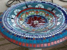 Showcase Mosaics Photos of Mosaic Birdbaths, Tables and Sculpture - Showcase Mosaics