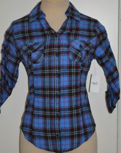 5bca8adf Ladies Derek Heart Blue Plaid Button Front Flannel Shirt Top Juniors Sizes  S,M,