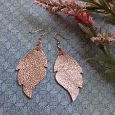 Rose gold (peach) leaf leather earrings, rose gold metallic leather leaf earrings, rose gold leather earrings by ShopSimplyDistressed on Etsy