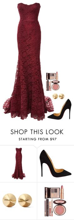 """""""Untitled #559"""" by h1234l on Polyvore featuring Monique Lhuillier, Christian Louboutin, Eddie Borgo and Charlotte Tilbury"""