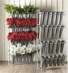 Metal Silk Flower Display Rack with 24 Galvanized Buckets Flower Shop Decor, Flower Shop Design, Design Floral, Flower Shops, Flower Designs, Flower Truck, Flower Cart, Silk Flowers, Dried Flowers