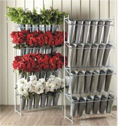 Metal Silk Flower Display Rack with 24 Galvanized Buckets