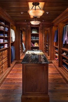 Interior Design Ideas wood paneled walk-in closet