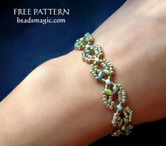 Free pattern for beaded bracelet Shalimar   U need: seed beads 11/0 seed beads 8/0 superduo beads   Start with 2 needles