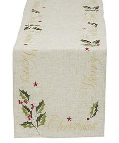 Another great find on #zulily! Beige & Green 'Merry Christmas' Embroidered Table Runner #zulilyfinds