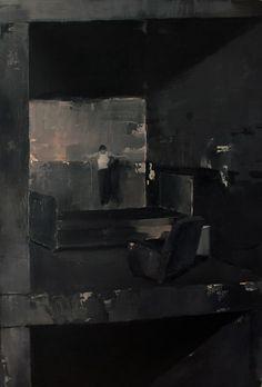 """Adrian Ghenie - """"Anxious to Jump"""", 2007, oil on canvas, 118 X 79 cm"""