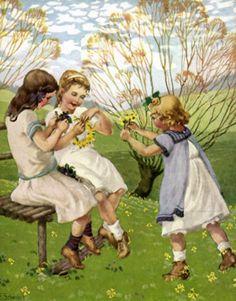 Girls Making Wreaths