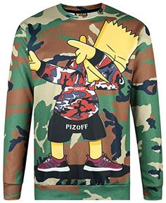 Pizoff Unisex Hipster Long Sleeve Crew Neck Camouflage Cute Cartoon 3D Graphic DAB Dancer Print Sport Pullover Sweatshirts Y1627-48-M:   brPIZOFF is designed for men and women offering slim fit style with the highest qualities. We bring customers to a different outlook on their life of fashion. Our first priority is The best Quality, The Fastest delivery and The Most reasonable price to our ended buyers.br brWe devote all our attention to make the best one so please kindly enjoy our ve...