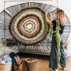 GREENSCAPE Just a little bit excited about this piece on the loom. It is my largest work to date. Thank you to the super talented and gorgeous friend for capturing me in my weaving moment. Weaving Textiles, Weaving Art, Loom Weaving, Tapestry Weaving, Rug Loom, Weaving Wall Hanging, Circular Weaving, Diy And Crafts, Arts And Crafts
