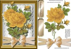 A lovely card to make and give to anyone with Beautiful Yellow roses and bell flowers on lace a lovely card has one greeting tag and a blank ,