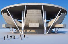 Propuesta de la Arena Panamericana en coautoría con los arquitectos Fernando González Gortazar y Antonio Riggen Martínez, Guadalajara, Jalisco, México.    Bocetos.    www.echaurimorales.com